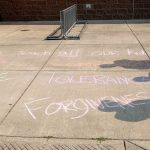 Positive messages written in chalk outside Timber Ridge